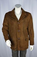 Vtg 50s Leather Jacket Suede Brown leather button front  Rockabilly Mens Size 44