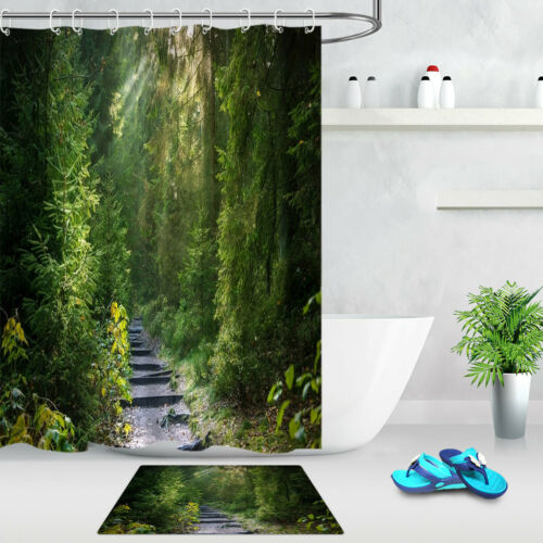 "72/"" Waterproof Fabric Shower Curtain Set Green Rain Forest Trees Path Landscape"