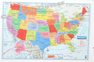 Large Us Map Poster Wall Art Print Decoration 40 X 28 Superior - Large-map-us
