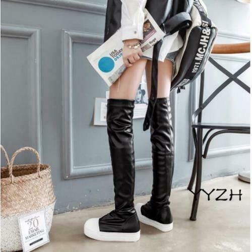 Details about  /Women/'s Pleated High Over the Knee Thigh Punk Wedge Platform Pull on Boots Shoes
