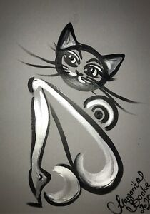 Margarita-Bonke-Malerei-PAINTING-erotic-EROTIK-akt-nu-art-black-white-cat-katze