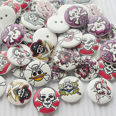 E650 Skull Wood Buttons 20mm Sewing Craft Mix Lots 10/50/100/500pcs