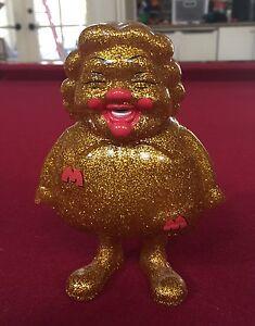 Figurine d'art en vinyle signée Ronald Mcdonald par Ron English Gold Glitter Supersize Me