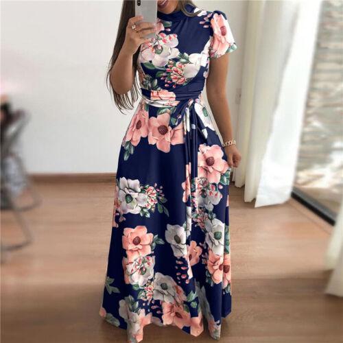 Damen Clubwear Abendkleid Partykleid Sommerkleid Cocktail Geblümt Maxikleid