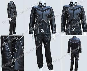 Image is loading X-Men-Cosplay-Wolverine-Black-leather-Uniform-Silver- & X Men Cosplay Wolverine Black leather Uniform Silver Line Costume ...