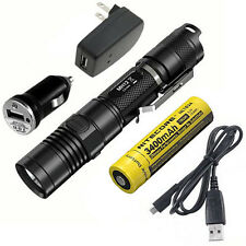 Combo: Nitecore MH12GT Rechargeable Flashlight w/USB Cord, Car & Wall Adaptors