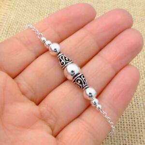 925-Sterling-Silver-Bali-Beads-Chain-Bracelet-Jewellery