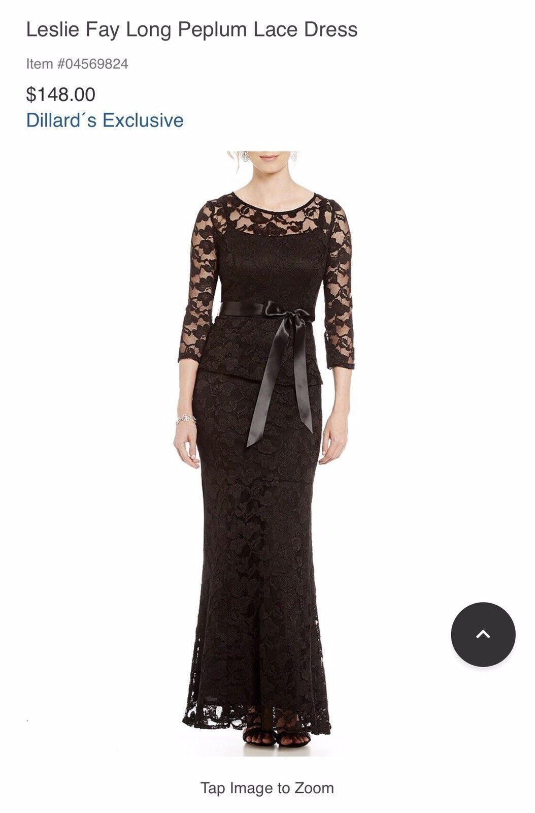 Leslie Fay Long Peplum Evening Dress schwarz Sz 6