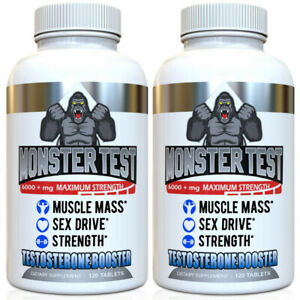 Testosterone Booster Monster Test for Men More Muscle Mass 6,000+ MG,  2 Pack