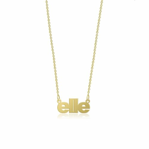 10K Solid Yellow Gold Personalized Custom Name Pendant Rolo Chain Necklace Set