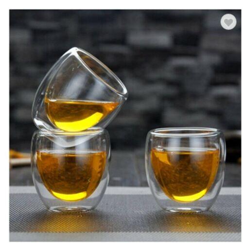 Double Wall Espresso Insulated Glass Cups Set Of 4 80ml Coffee Mug Tea Glasses