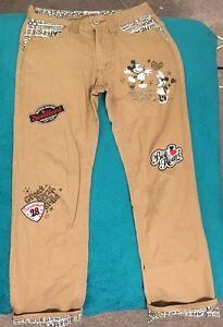 Kaki Disney Cadeau Femmes 8 Rare Patchwork Pantalon Sz Mouse Brodé Mickey qSa4FwE