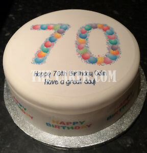 Image Is Loading Personalised 70th Birthday Balloons Pre Cut Edible Icing