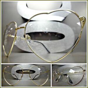 73d1a68dca8b OVERSIZE VINTAGE RETRO Style Clear Lens EYE GLASSES Heart Shape Gold ...