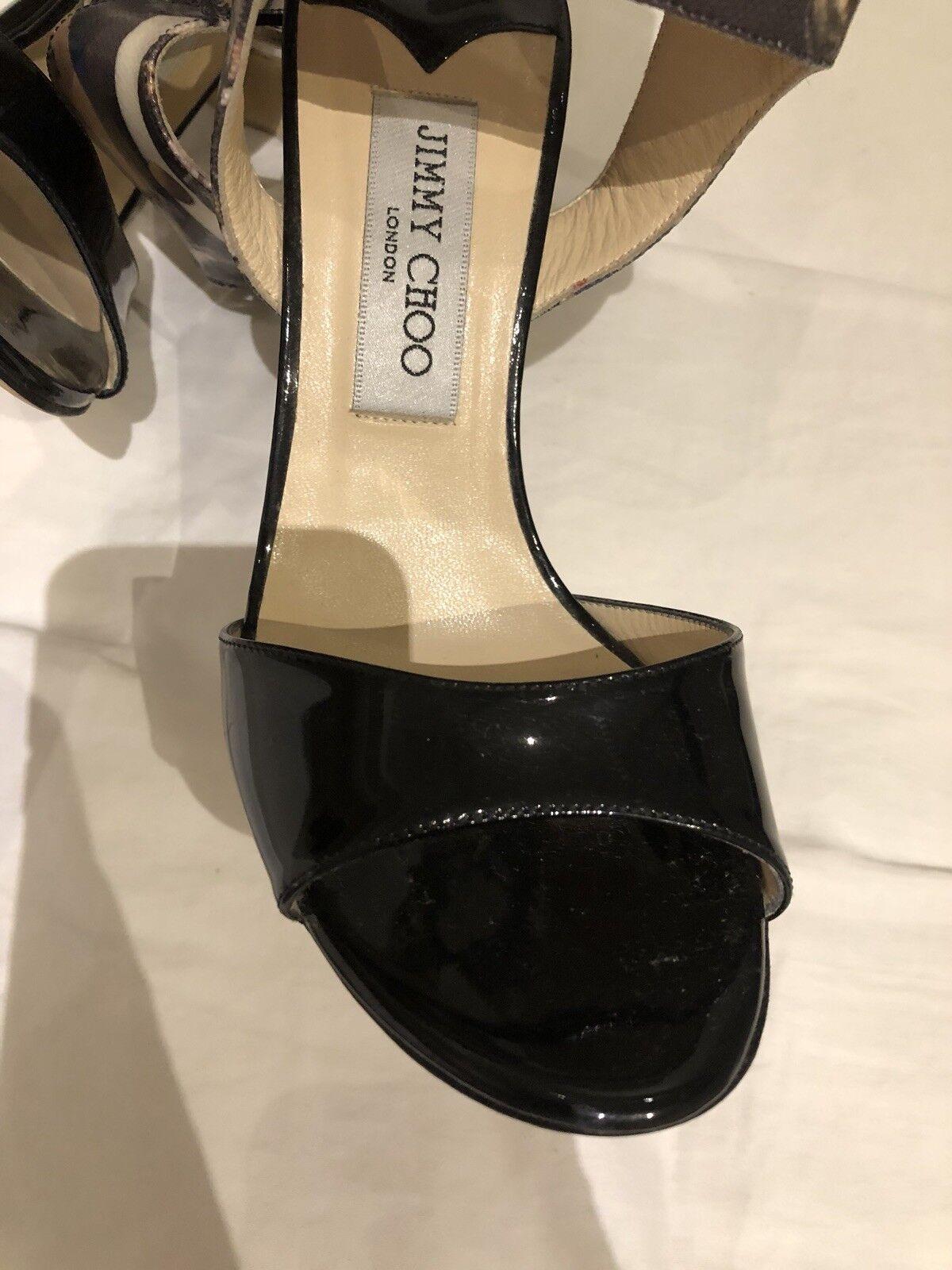 Nuevo Jimmy Choo Choo Choo Charol Negro Correa De Tobillo Peep Toe Sandalia 37.5 US 7.5  centro comercial de moda
