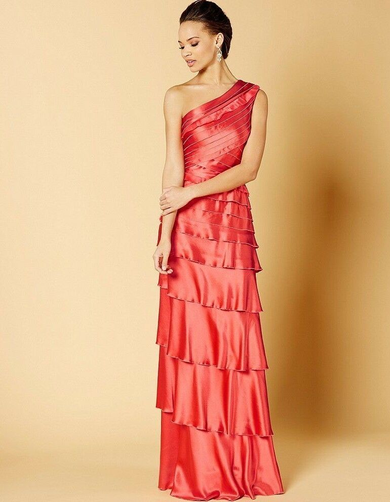 KAY UNGER NEW YORK Sz4 ONE SHOULDER STRETCH SATIN RUFFLED GOWN WATERMELON