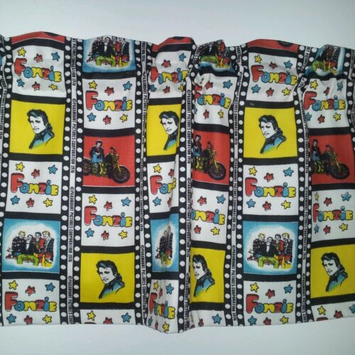 LINED VALANCE 41X12 HAPPY DAYS FABRIC TV SHOW FONZIE MOTORCYCLE BIKE DINER