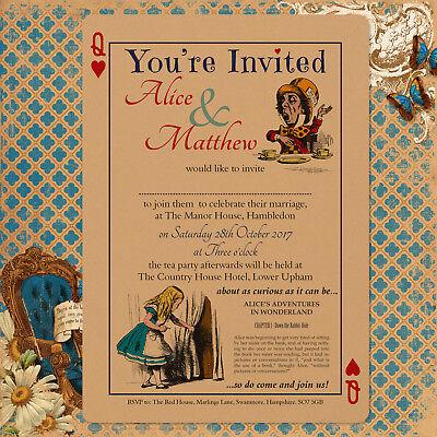 Personalised Vintage Alice in Wonderland Wedding Invitations Inc Envelopes Buff