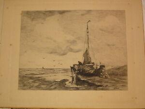 Jacob-MARIS-1837-1899-GRAVURE-MARINE-HOLLANDE-DEN-HAAG-IMPRESSIONNISME-1880
