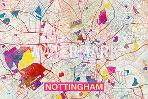 Map Of Nottingham England Art Print Graphic Poster
