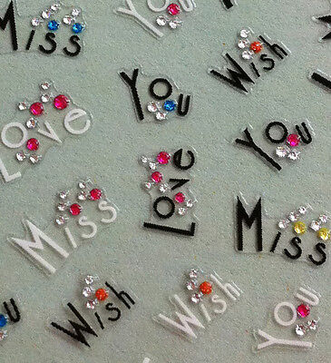Nail Art 3D Sticker Crystal I Wish Miss Love You Valentine 53pcs/sheet