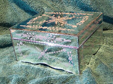Large Decorative Venetian Mirror Patterned Trinket Jewellery Box Beautiful VGC