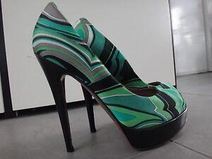 Missoni Green Multi colored Fabric Open Toe Platform Pump Italy sz.40