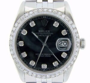 Rolex-Datejust-Mens-Stainless-Steel-Quickset-Watch-Black-Diamond-Dial-1ct-Bezel