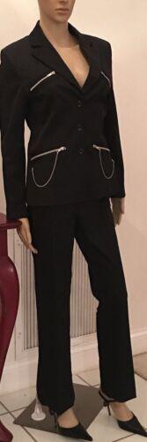 CRISTINAEFFE Womens Black Pinstrip Suit w/ZipChain