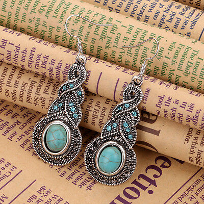 New Classical Natural hot Turquoise cute tibet silver hook earrings CZ jewelry