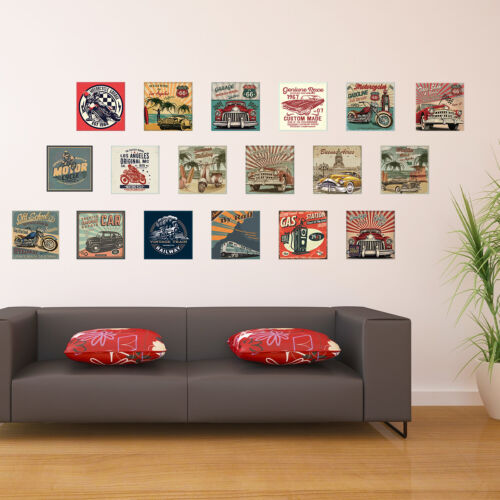 HD Vintage Vehicle Collage Mural Decals Home Self-adhesive Wallpaper 180x120cm