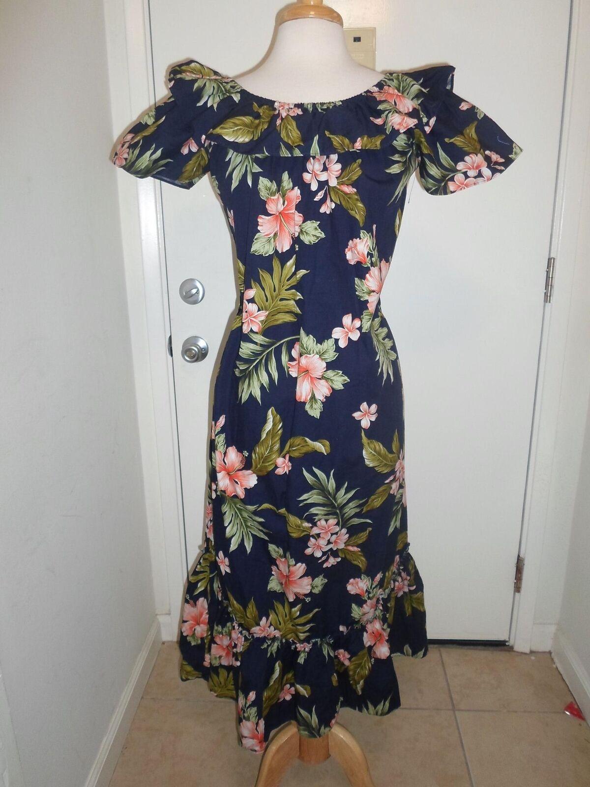 KY's Navy bluee S Hula Dress Coral Hibiscus Hawaiian Aloha Luau