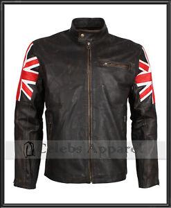 Mens Biker Vintage Distressed Brown Union Jack Cafe Racer Leather Jacket