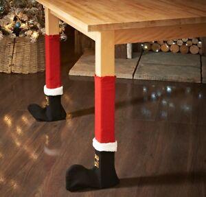 4pc santa christmas table chair leg covers decoration boots decor rh ebay co uk Chair Protectors to Protect Floors Wood Chair Leg Protectors