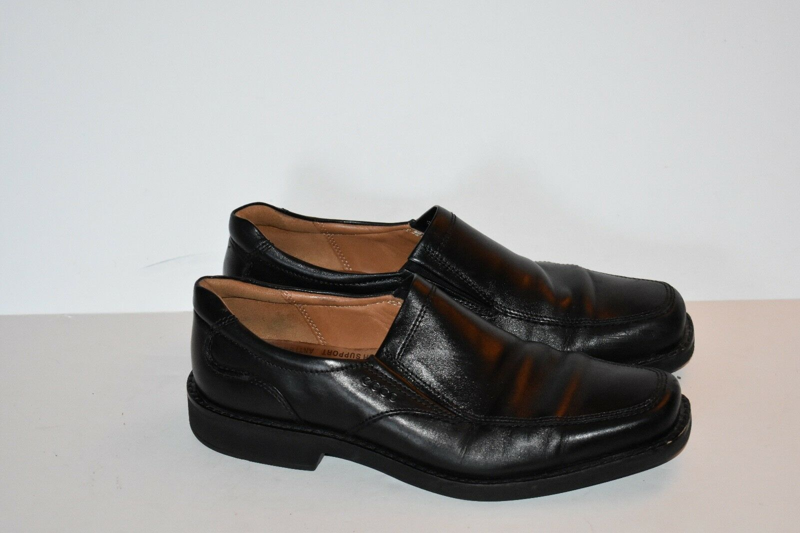 Ecco Black Leather Casual Loafer shoes Men's Size 45 Extra Width