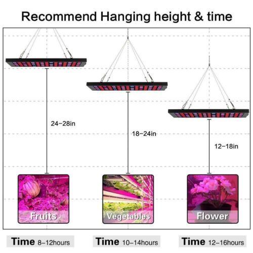 600W LED Grow Light Panel Full Spectrum Hydroponic Indoor Veg Flower Plant Lamp