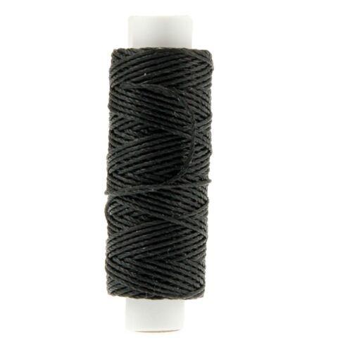 Ledergarn schwarz aus Polyester stark gewachst zum Handnähen