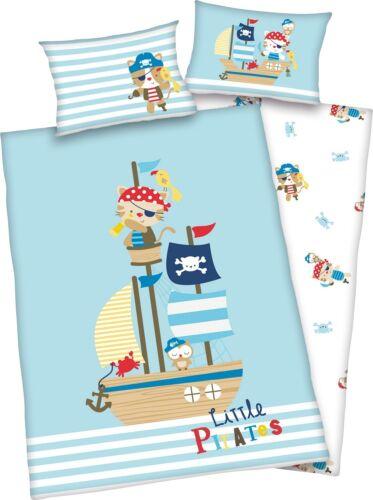 3tlg Baby Wende Bettwäsche little Pirates 100x135 renforcé inkl.1 Spannbettlaken