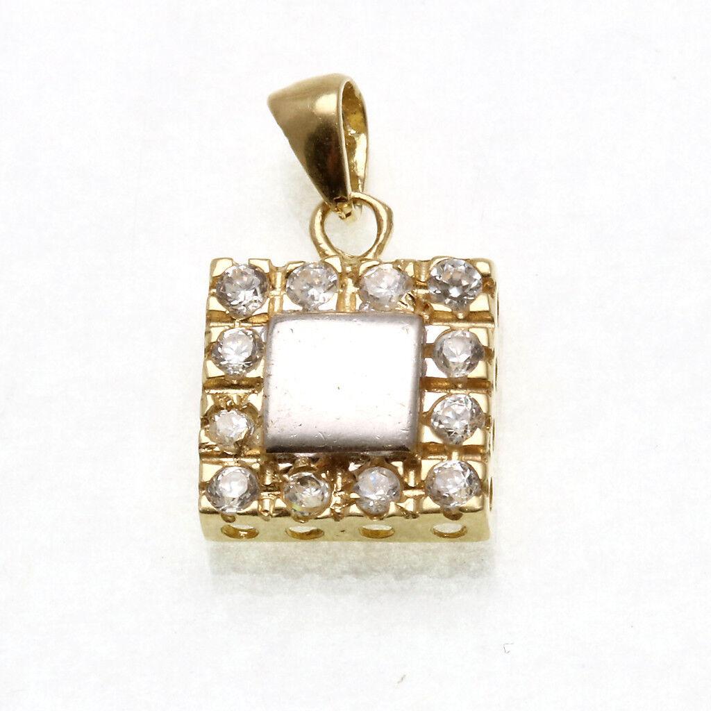 Vintage 14k Square cubic zircona pendant Estate 2 tone yellow white gold