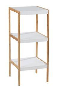 Regal Turm Bad Badezimmer Flur Schlafzimmer Kuche Bambus Holz Natur Weiss Ebay
