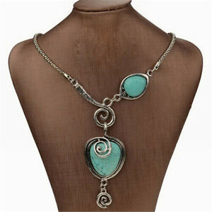 Vintage-Women-039-s-Turquoise-Necklace-Heart-Bib-Collar-Statement-Pendant-Jewelry