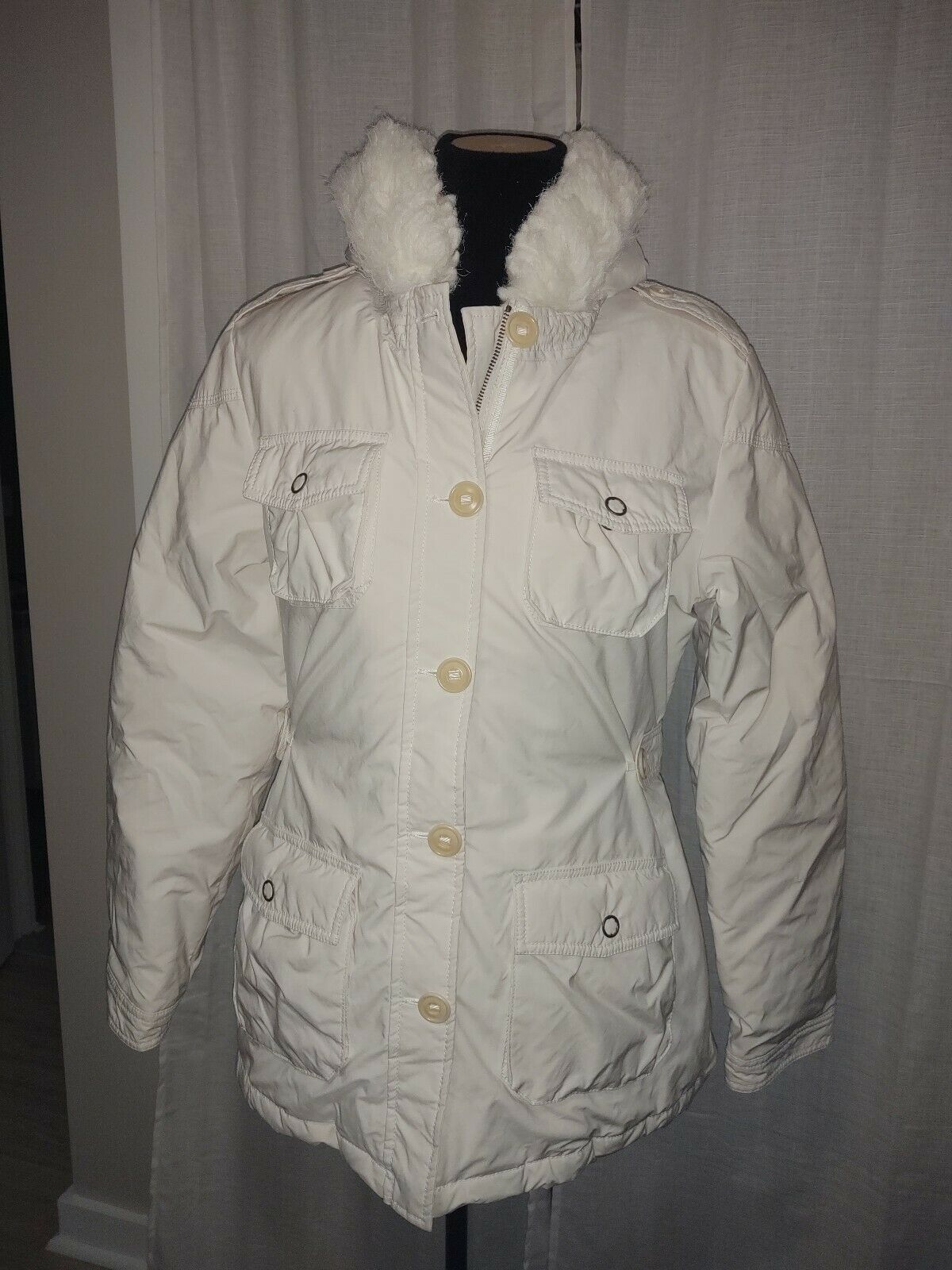 Large Banana Republic Ivory Down Feather Winter Jacket With Faux fur Hood
