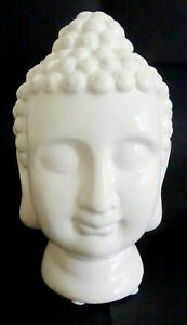 Buddha-Kopf-Statue-Feng-Shui-Weiss-Indien-18-cm-Deko-Porzellan