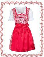 Dirndl Oktoberfest Set 3tlg. Kleid Bluse Schürze rot/weiß kariert Gr.36-40 NEU