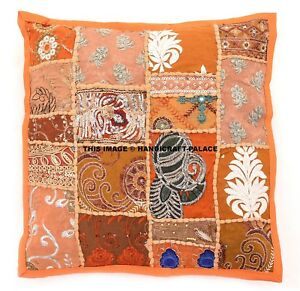 "Bohemian Orange Patchwork Indian Pillow Indian Decorative art Cushion Cover 16/"""