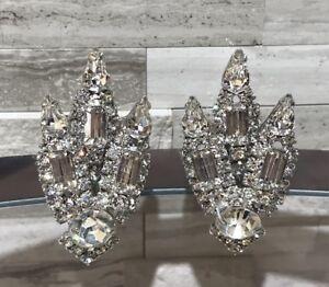 Glittering-Large-Vintage-Rhinestone-art-deco-Silver-Clip-On-Earrings