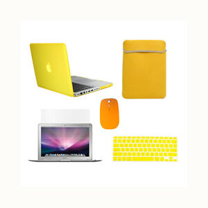 5in1-Rubberized-YELLOW-Case-for-Macbook-PRO-13-034-Keyboard-Cover-LCD-Bag-Mouse
