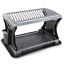 2-Tier-Large-Plastic-Sink-Dish-Drainer-Rack-Tray-Kitchen-Cutlery-Holder-Grey-New thumbnail 6