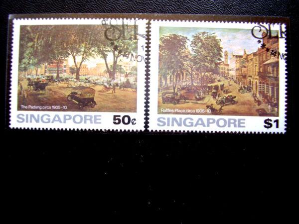 Contemplatif Singapour 1976 Peintures Anciennes Singapour Question Partie Ensemble De Deux Valeurs Fine Utilisés.