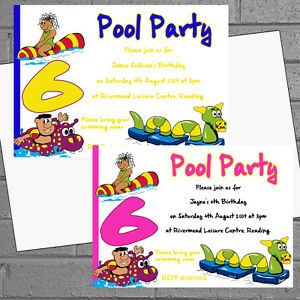 Details About Pool Party Invitations Swimming Birthday Boys Girls Inflatables X12 Envs H0953
